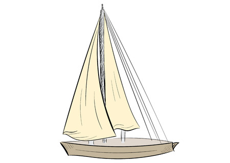 sailboat: The sketch of the sailboat on a white background Illustration