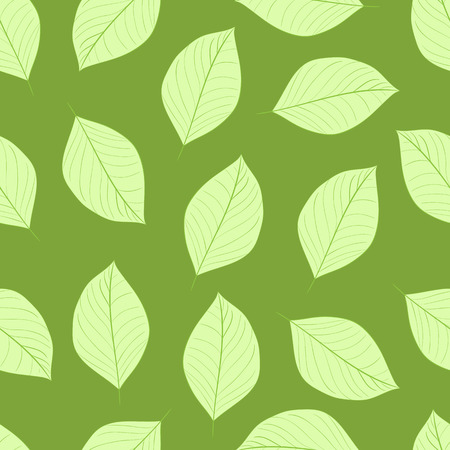 usual: Seamless texture with usual simple green leaves Illustration