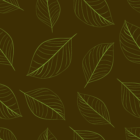 contours: Seamless texture with contours of usual leaves Illustration
