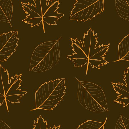 contours: Seamless texture with contours of leaves against a dark background Illustration
