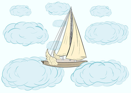 blue clouds: The sailing ship flying through blue clouds Illustration