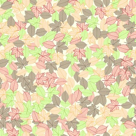 infinite: Seamless texture with multi-colored infinite autumn leaves Illustration