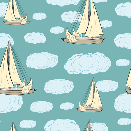 sailing ships: Seamless texture with the flying winged sailing ships and clouds Illustration