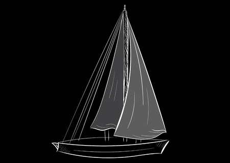 negligent: White contour of the sailing ship on a black background