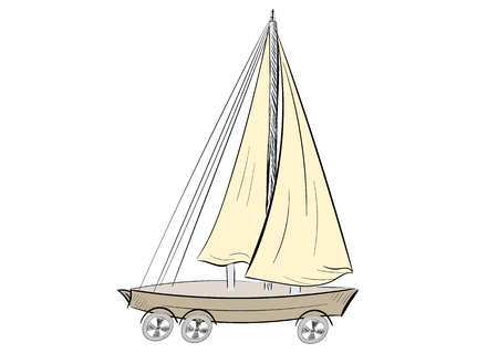 negligent: The sketch of the sailboat on wheels