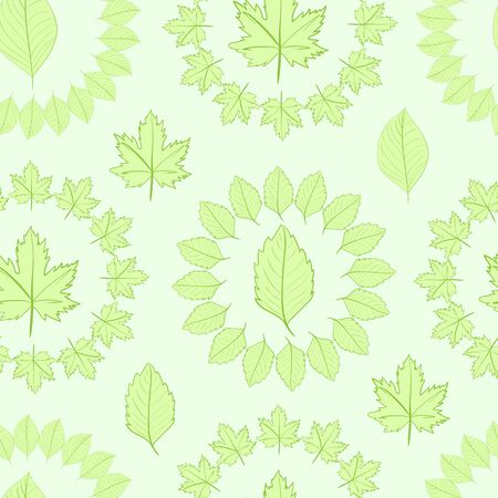 usual: Seamless texture with the surrounded green leaves Illustration