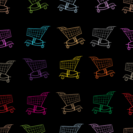 usual: Seamless texture with multi-colored store carts on the black