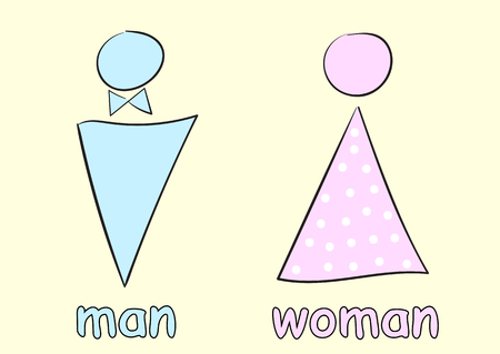 negligent: Male and female toilet badge sketch with the signature