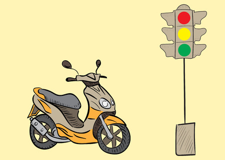 exhaust pipe: The color scooter and the traffic light