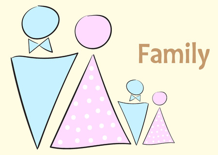 four people: Family from four people toilet badges and an inscription Illustration