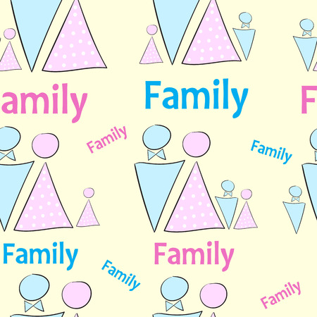 gallant: Seamless texture of a family with pink and blue toilet sign Illustration