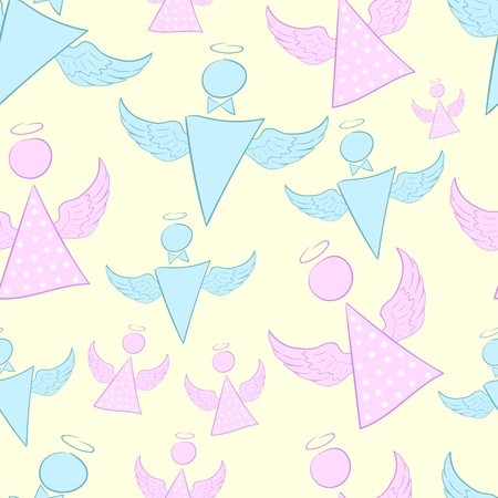 nimbus: Seamless texture with winged angels with a nimbus Illustration