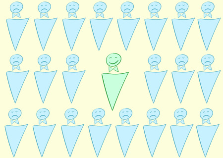 dissatisfied: Vector illustration with dissatisfied and the happy little man