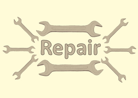 repaired: Illustration with a wrenches for repair and an inscription