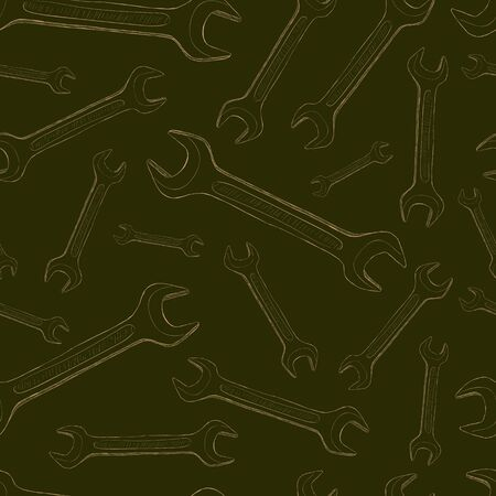 repaired: Seamless texture with wrenches on a dark background
