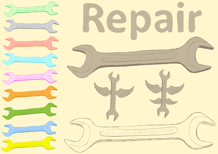 repaired: Clipart with multi-colored wrenches and an inscription Illustration