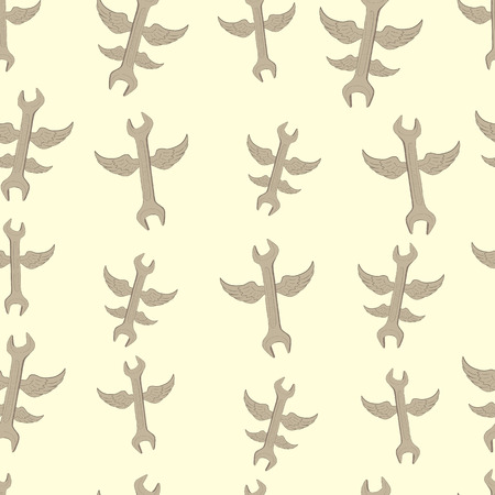repaired: Seamless texture with winged wrenches on a light background Illustration