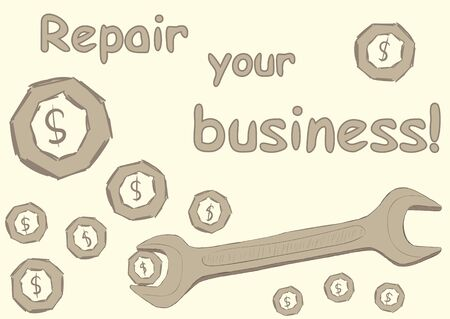 repaired: Illustration with a dollar sign in a nut and a wrench