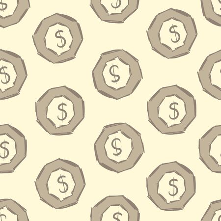 stylized banking: Seamless texture with dollar signs in an octagonal nut Illustration