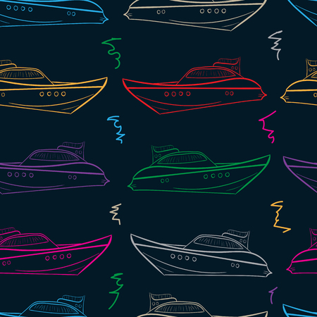 creatively: Seamless texture with color yachts and a scribble