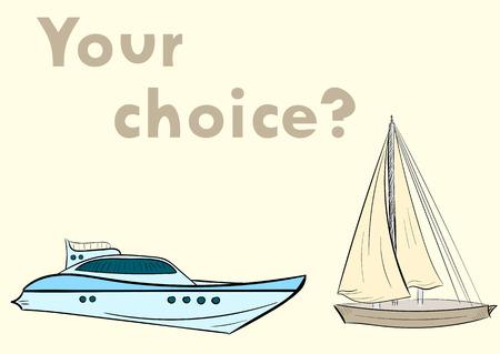 sailing vessel: Conceptual yate de la ilustraci�n y la elecci�n velero Vectores