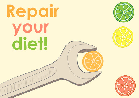 creatively: Conceptual illustration repair your diet with a wrench and citruses Illustration