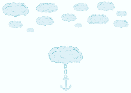 blue clouds: Blue clouds in the sky and a cloud with an anchor
