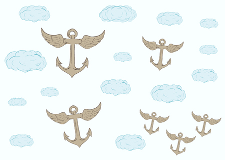 blue clouds: Blue clouds and the flying anchors on the sky