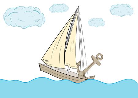 Das Segelschiff auf dem Meer und einem schweren Anker