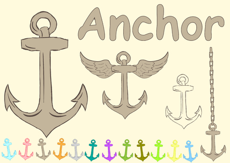 inscriptions: Clipart with various anchors wings and inscriptions