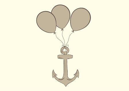 negligent: Conceptual illustration with the balloons lifting an anchor