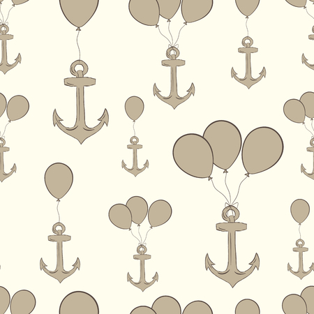 Seamless texture with brown anchors on balloons Illustration