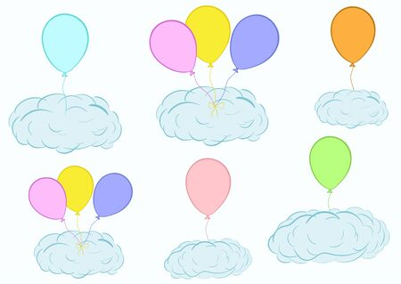 creatively: Illustration with blue clouds on balloons in the sky