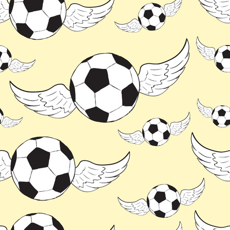 soccer balls: Seamless texture with conceptual winged soccer balls