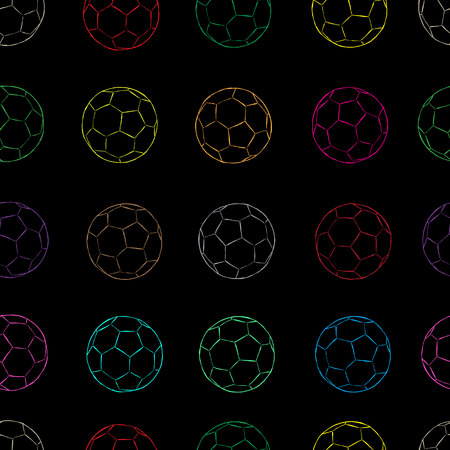 creatively: Seamless texture with sketches of contours soccer balls