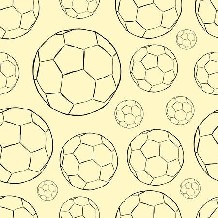 futbol soccer dibujos: Textura inconsútil con los bocetos de las bolas de los contornos de fútbol Foto de archivo