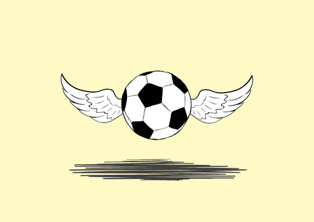 winged: The flying winged soccer ball and shadow Illustration