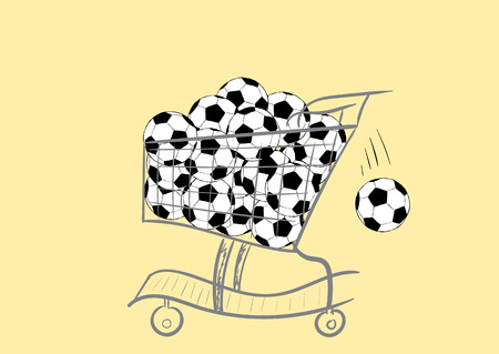 leather goods: The store cart with a heap of classical soccerballs