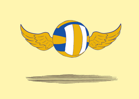 winged: The flying winged volleyball ball and shadow Illustration