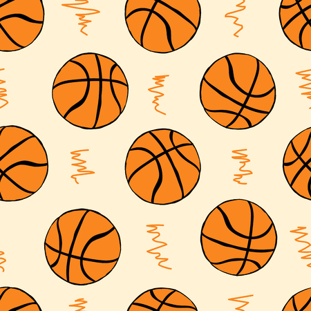 basketballs: Seamless texture with basketballs balls on the light Illustration