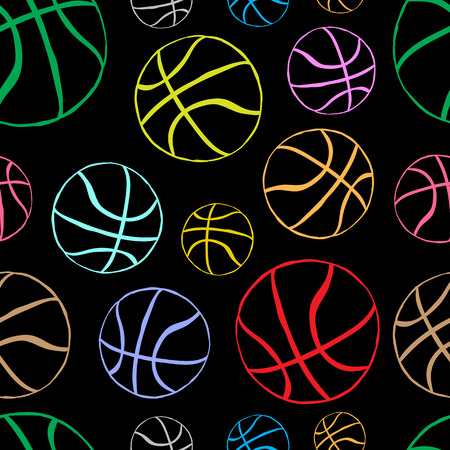 basketballs: Seamless texture with basketballs balls on the dark