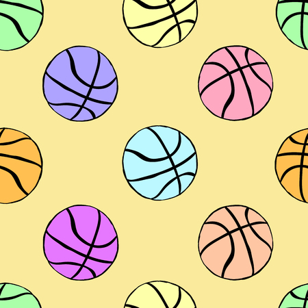 creatively: Seamless texture with color basketballs balls on the light