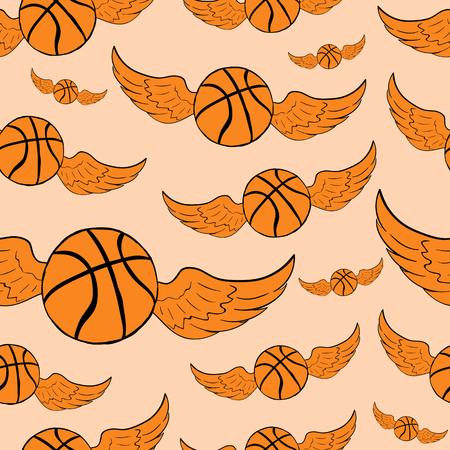 basketballs: Seamless texture with the winged orange basketballs on a light background