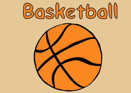 creatively: Classical basketball ball and orange inscription basketball