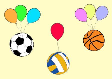 balon voleibol: Ilustración con tres bolas en los globos del color