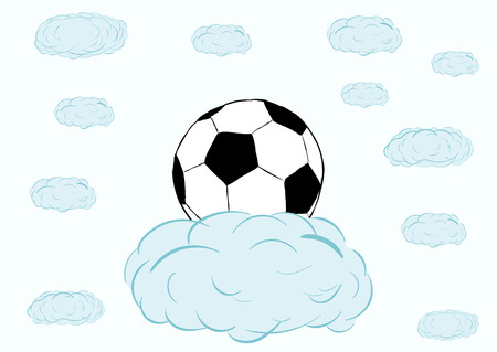 soccerball: Classical black-and-white soccerball on a blue cloud in the sky