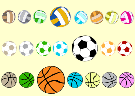 basketballs: Clipart with multi-colored football volleyball and basketballs Illustration