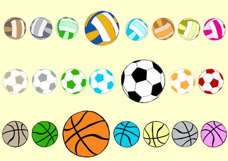 balon de voley: Predise�ada con el voleibol de f�tbol multicolor y pelotas de baloncesto Vectores