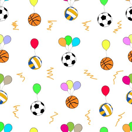 basketballs: Seamless texture with football volleyball and basketballs on color balloons