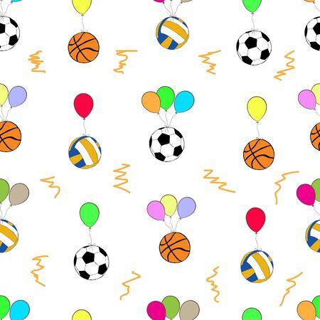 balon voleibol: Textura transparente con voleibol fútbol y baloncesto en los globos de color Vectores
